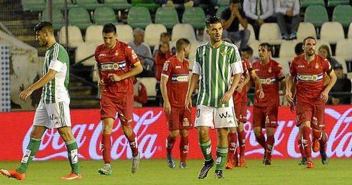 Cara de circunstancia de Dani Ceballos tras el tercer gol del Espanyol.