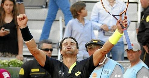 David Ferrer celebrando una victoria en el Open de Madrid.
