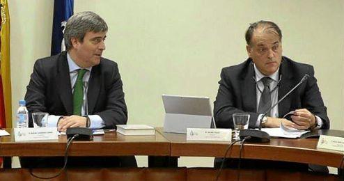 Los presidentes de los dos organismos, Miguel Cardenal y Javier Tebas.