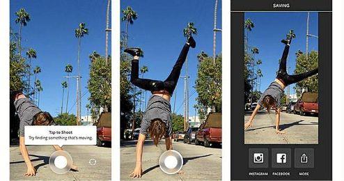 Boomerang capta una secuencia de fotos y la convierte en vídeo.