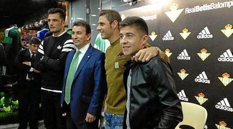 Adán, López Catalán, Joaquín y Portillo, en la tienda.