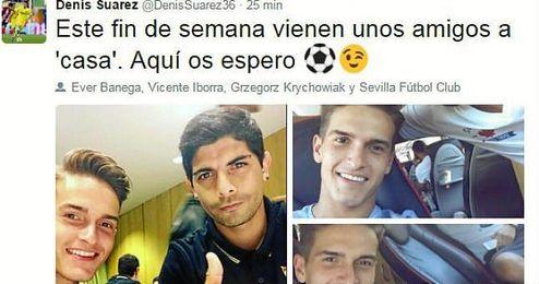 Denis Suarez, con Banega en su Twitter.