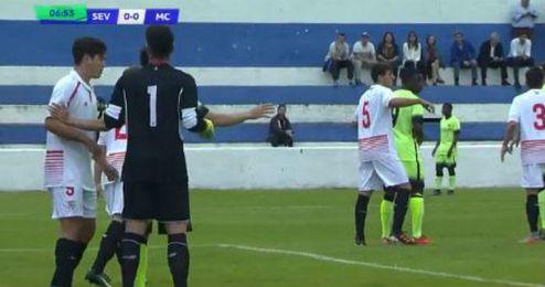 Imagen del partido entre el Sevilla y el City de la Youth League.