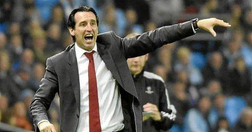 Unai Emery en el partido ante el Manchester City.