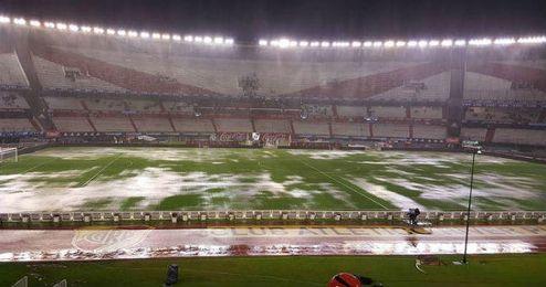 Este es el estado que presentaba el estadio Monumental de Buenos Aires.