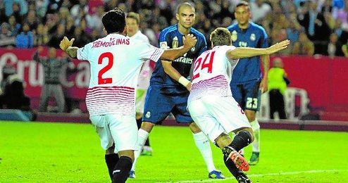 Imagen del partido ante el Real Madrid.