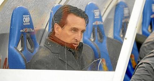 Emery, en el banquillo de Anoeta.