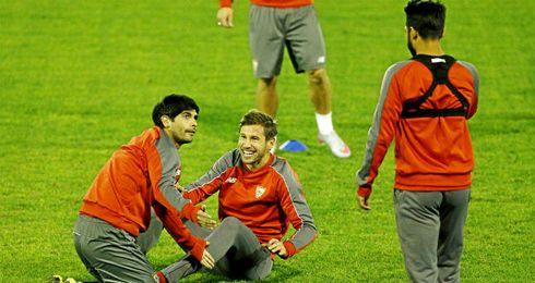 Entrenamiento del Sevilla previo al partido de Champions.