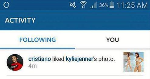 En la imagen, notificación del ´like´ de Cristiano a Jenner.