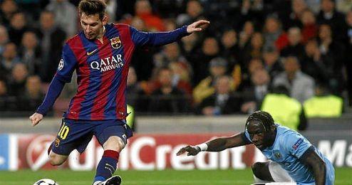 Leo Messi en un choque frente al Manchester City.