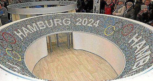 Maqueta del que habría sido estadio olímpico de Hamburgo 2024.