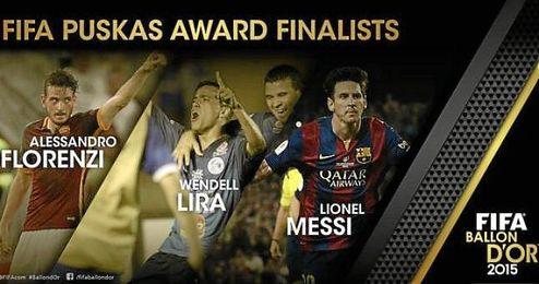 Los tres candidatos al premio de mejor gol del año.