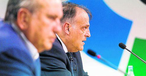 Javier Tebas, durante una asamblea de la Liga de Fútbol Profesional.