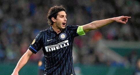 Ranocchia, en un partido con el Inter.