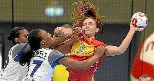 Imagen de un lance del partido entre España y Francia.