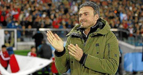 Luis Enrique, durante el partido ante River Plate.