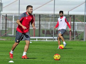 Ciro Immobile, durante un entrenamiento del Sevilla