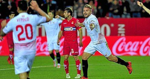 Immobile celebra su gol ante el Espanyol.