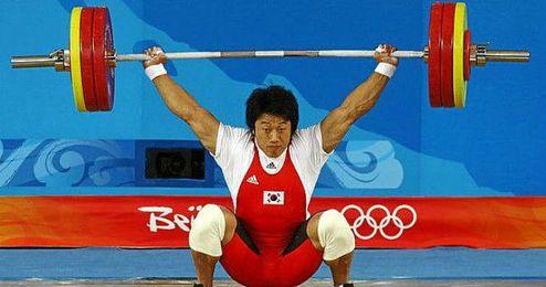 Sa durante la prueba en la que ganó la medalla de oro.