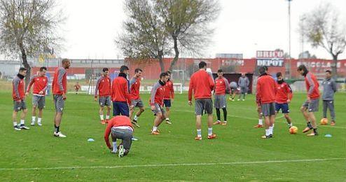 Imagen del entrenamiento de hoy jueves.