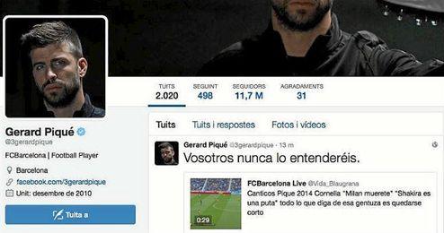 Imagen de la cuenta personal de Piqu� en la que aparece el mencionado tweet.