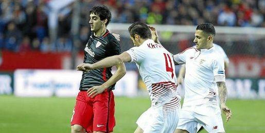 Imagen del partido entre el Sevilla y el Athletic Club.