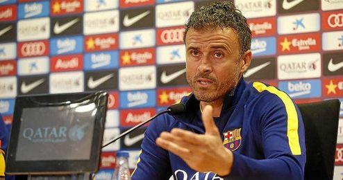El entrenador del FC Barcelona, Luis Enrique, en una rueda de prensa.