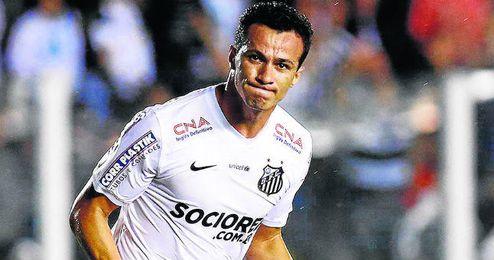 Leandro Damiao (26 años y 1,87) celebra un gol con la camiseta del Santos.