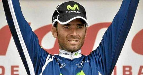 En la imagen, el ciclista Alejandro Valverde celebrando un triunfo.