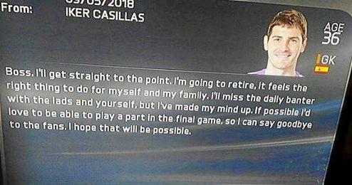 Casillas contesta a un tweet del FIFA.