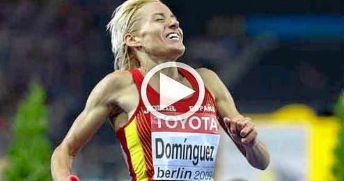 Marta Domínguez, compitiendo en el mundial de Berlín 2009.