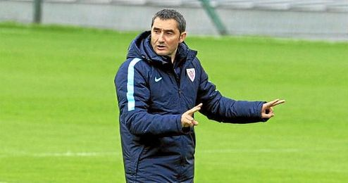 Valverde, en un entrenamiento del Athletic Club.