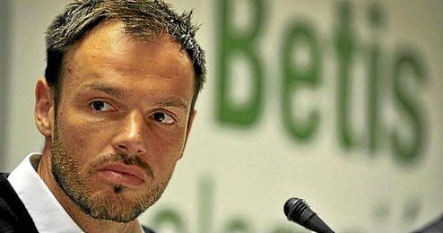 Heiko Westermann, en la sala de prensa del Real Betis.