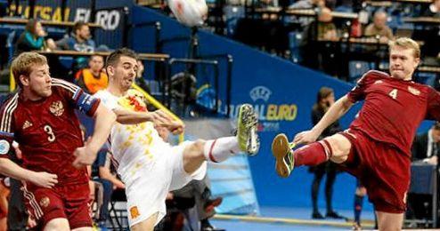 Lance de la final entre Rusia y Espa�a en Belgrado.