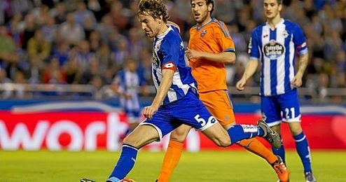 Mosquera durante el partido ante el Valencia