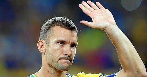 Andriy Shevchenko, en un partido con el combinado nacional ucraniano.