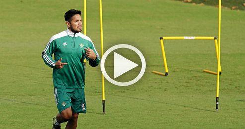 Vargas, durante un entrenamiento.