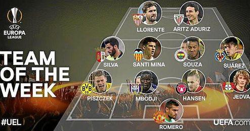 El exsevillista Denis Suárez también está en el once.