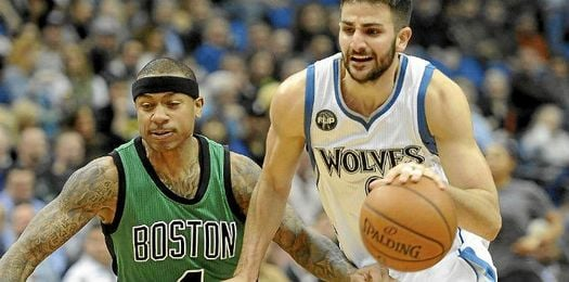 Ricky Rubio volvió loco a los Celtics.