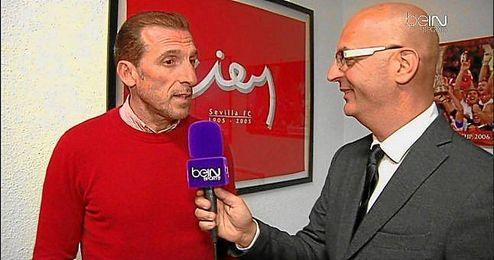 Óscar Arias, con los compañeros de beIN Sports.