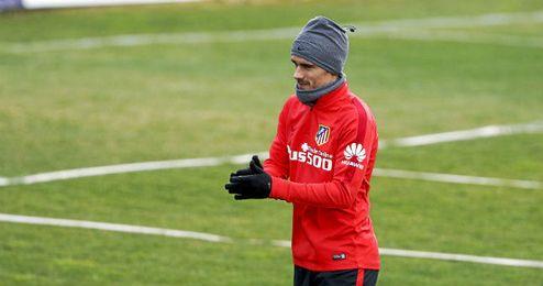 Griezmann, durante la sesión preparatoria al partido de mañana.
