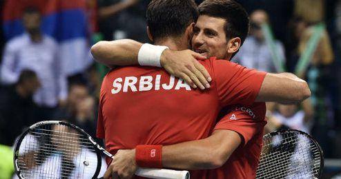 Djokovic celebra una victoria en la Copa Davis