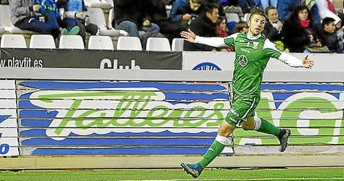 Borja Lázaro celebra el gol conseguido.