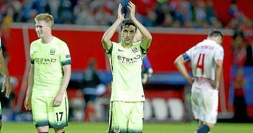Jes�s Navas, con el Manchester City en el S�nchez Pizju�n.