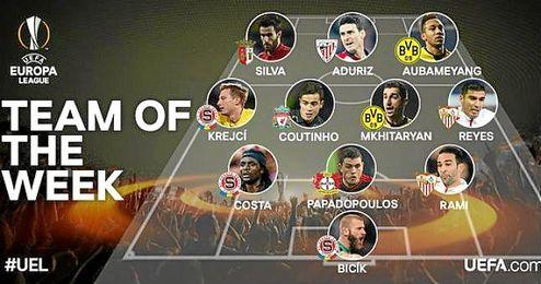 El once dispuesto por la UEFA.