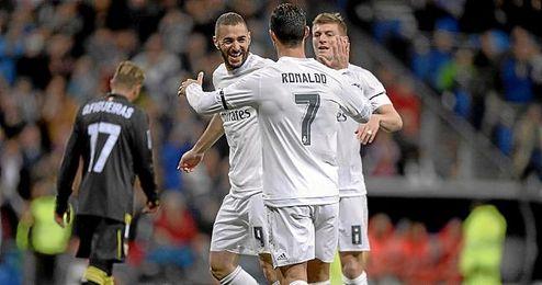 Festejo de uno de los goles del Madrid.