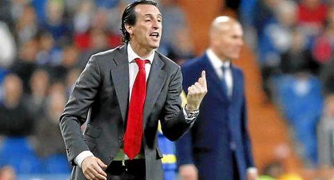Emery, durante el partido contra el Real Madrid.