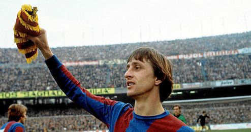 En la imagen, Johan Cruyff con la camiseta del F.C. Barcelona.