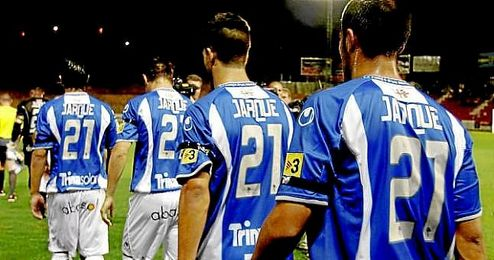 Los jugadores del Espanyol, en un homenaje a Dani Jarque.