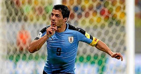 Su�rez celebra su gol ante Brasil.